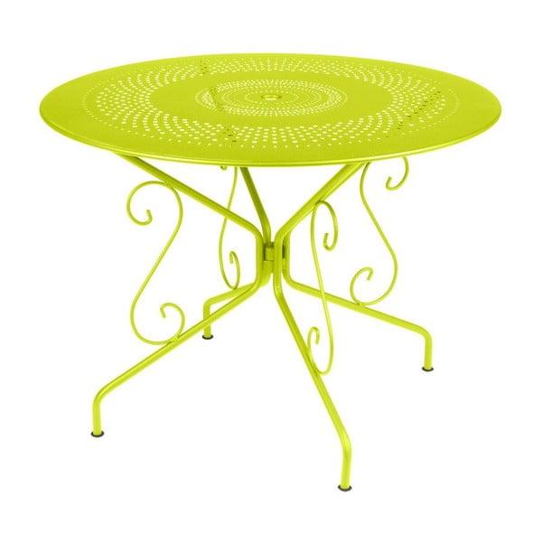 Limonkowy stół metalowy Fermob Montmartre, Ø 96 cm