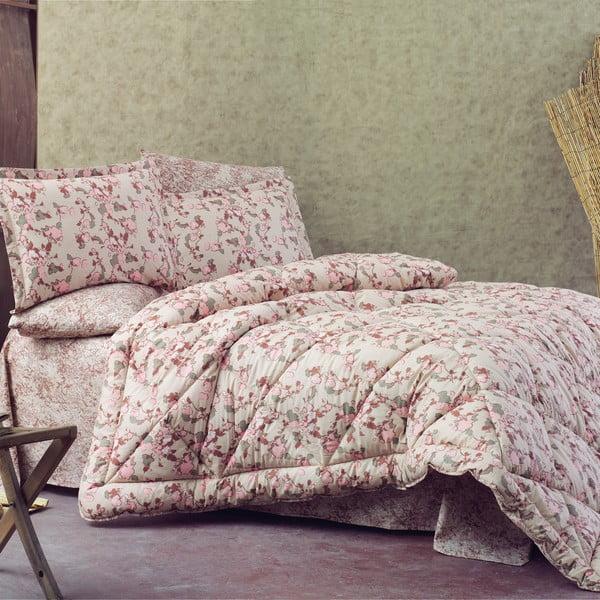 Narzuta z prześcieradłem i poszewką na poduszkę Marla, 155x215 cm
