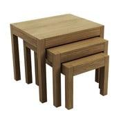 Zestaw 3 dębowych stolików Sims