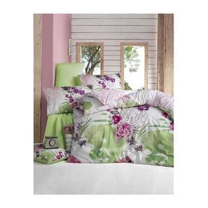 Zielona pościel dwuosobowa z satyny bawełnianej z prześcieradłem na dwuosobowe łóżko Lamita, 200x220 cm