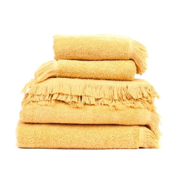 Zestaw 6 żółtych ręczników i 2 ręczników kąpielowych Casa Di Bassi Sun