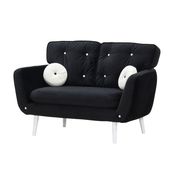 Czarna   sofa dwuosobowa z białymi guzikami Wintech Alva Malta