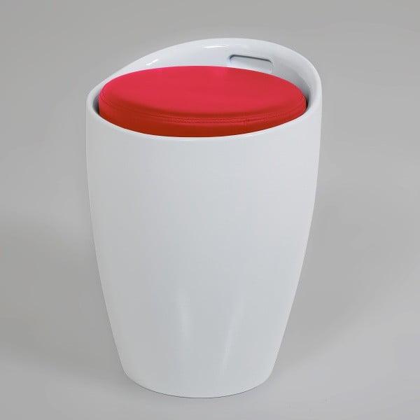 Biało-czerwony stołek ze schowkiem Actona Minxie