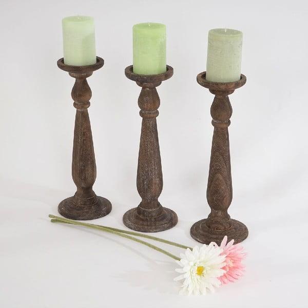 Zestaw 3 świeczników Shabby Brown, 35 cm