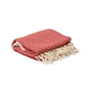 Czerwono-biały ręcznik hammam Spa Time Zig, 95x180cm