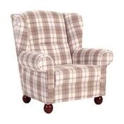 Piaskowy fotel w kratkę Max Winzer Monarch Chenille