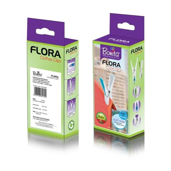 Zestaw: suszarka i spinacze Bonita Flora Purple, 24 sztuki
