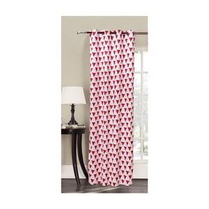 Czerwono-biała zasłona we wzory z mikrowłókna DecoKing Triangles, 140x245 cm