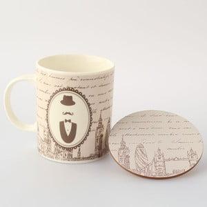 Porcelanowy kubek Mr. z podstawką, 0,35 l