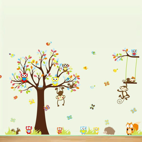 Zestaw naklejek Ambiance Cute Monkeys Playing On Trees