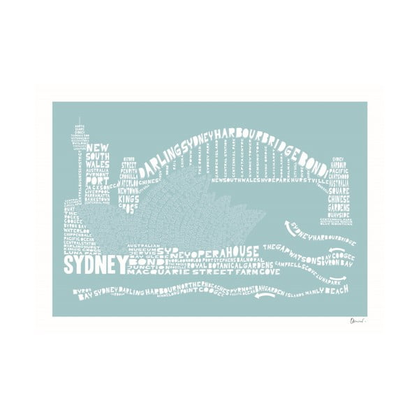 Plakat Sydney Blue&White, 50x70 cm