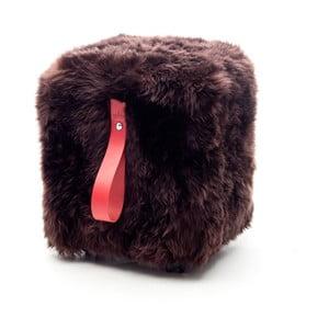 Brązowo-czerwony   graniasty puf Royal Dream