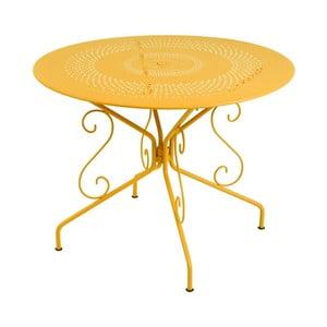 Żółty stół metalowy Fermob Montmartre, Ø 96 cm