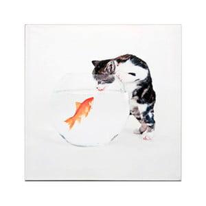 Drewniana tabliczka Cat and Fish, 30x30 cm