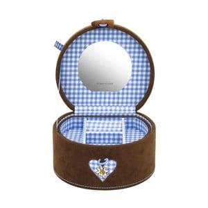 Szkatułka na biżuterię Bagvaria Brown/Blue, 15,5x14x10 cm