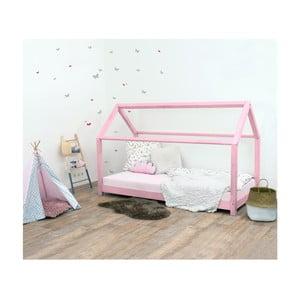 Różowe łóżko dziecięce z drewna świerkowego Benlemi Tery, 80x190 cm