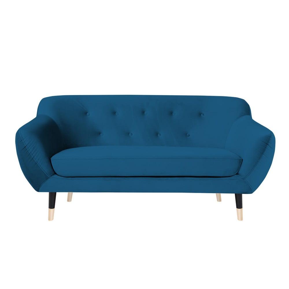Niebieska sofa z czarnymi nogami Mazzini Sofas Amelie, 158 cm