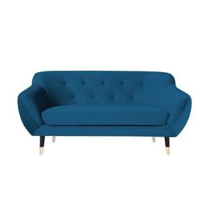 Niebieska sofa 2-osobowa z czarnymi nogami Mazzini Sofas Amelie