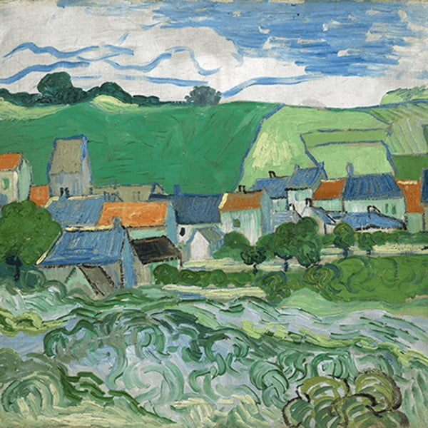 Obraz Vincenta van Gogha - View of Auvers, 30x30 cm