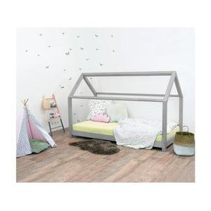 Szare łóżko dziecięce z drewna świerkowego Benlemi Tery, 90x200 cm