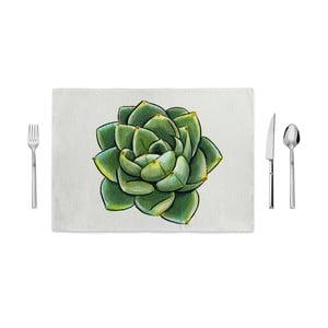 Zielono-biała mata kuchenna Home de Bleu Succulent, 35x49cm