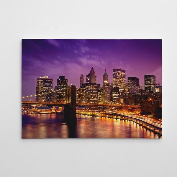"Obraz na płótnie ""Brooklyn Bridge nocą"", 50x70 cm"