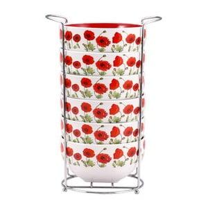 Zestaw misek Red Flowers ze stojakiem, 6 szt.
