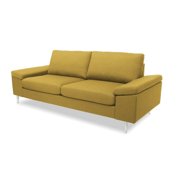 Żółta sofa 3-osobowa Vivonita Nathan
