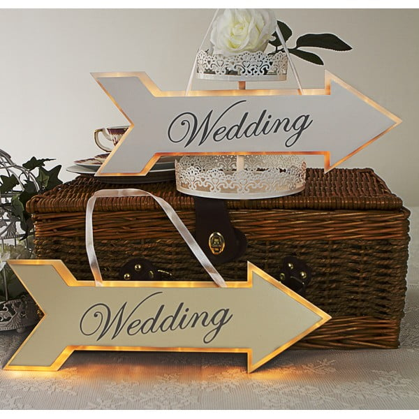 Dekoracja ślubna z lampką LED Arrow