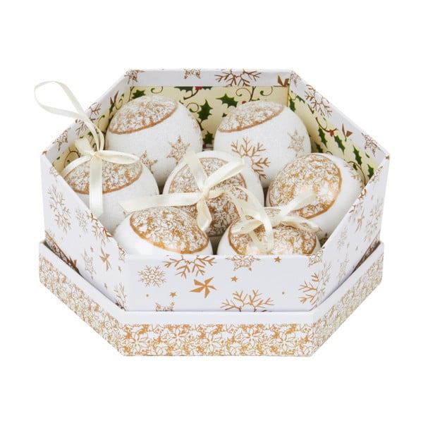 Zestaw 7 ozdób w pudełku Archipelago Gold Snowflake Baubles