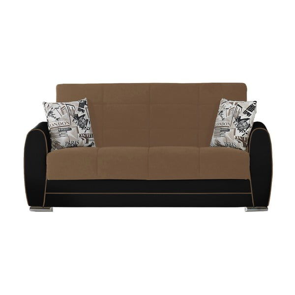 Czekoladowo-czarna dwuosobowa sofa rozkładana ze schowkiem Esidra Rest