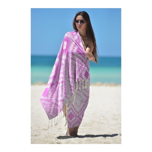 Ręcznik hammam Vive Purple, 95x180 cm