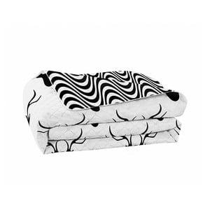 Czarno-biała narzuta dwustronna z mikrowłókna DecoKing Hypnosis Deers, 240x260cm