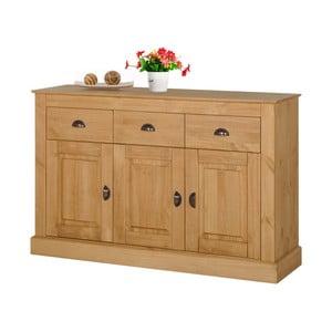 Naturalna 3-drzwiowa komoda z 3 szufladami z drewna sosnowego Støraa Tommy