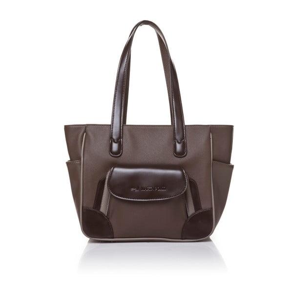 Skórzana torebka przez ramię Marta Ponti Pocket Deux, jasnobrązowa/ciemnobrązowa