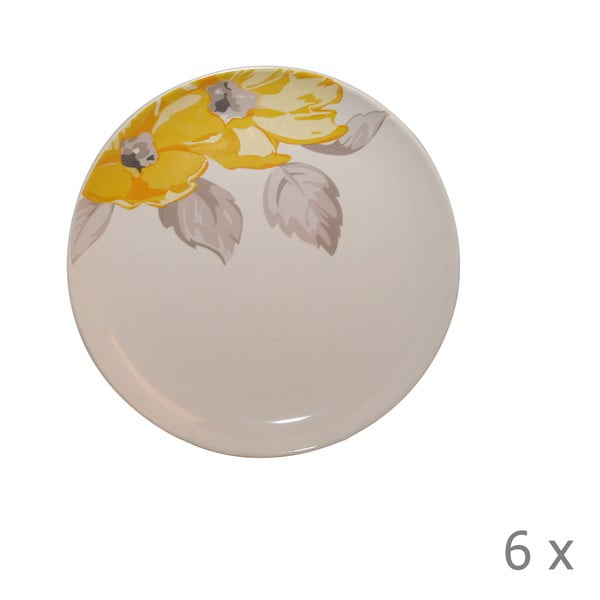 Komplet 6 talerzy Elise Floral, 19 cm