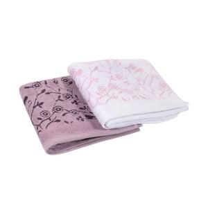 Komplet 2 ręczników Antenne Blanc/Lilas, 50x90 cm