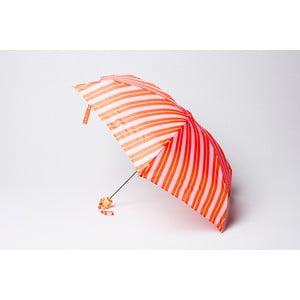 Składany parasol Stripe, pomarańczowo-różowy
