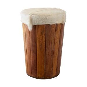 Stołek z drewna mango z siedziwskiem z koziej skóry Canett Nebraska