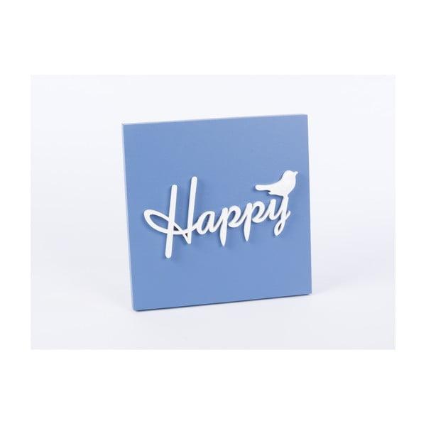 Drewniany obraz Happy 30x30 cm, niebieski