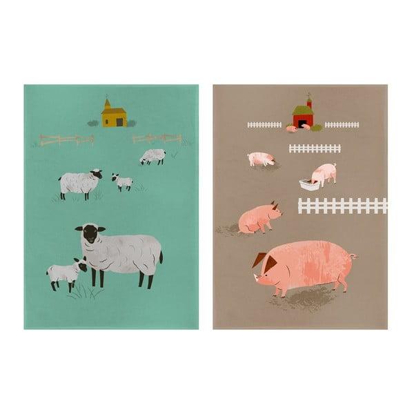 Zestaw 2 ścierek kuchennych Hugglets Wood Pig