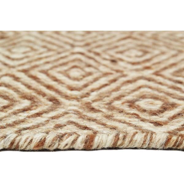 Ręcznie tkany dywan Light Brown Pattern Kilim, 152x212 cm