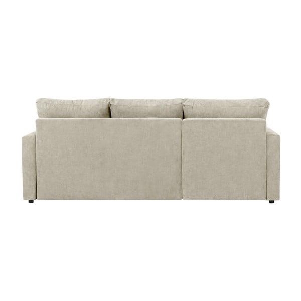 Beżowa 3-osobowa narożna rozkładana sofa ze schowkiem Melart Andy