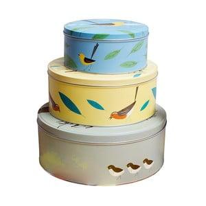 Zestaw 3 blaszanych pojemników na ciastka Birdy