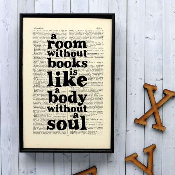Plakat w   drewnianej ramie A Room Without Books