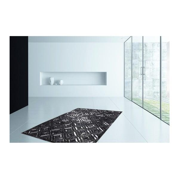Srebrno-czarny skórzany dywan Daz, 160x230cm