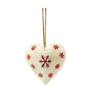 Dekoracja wisząca Antic Line Heart with snowflake in white