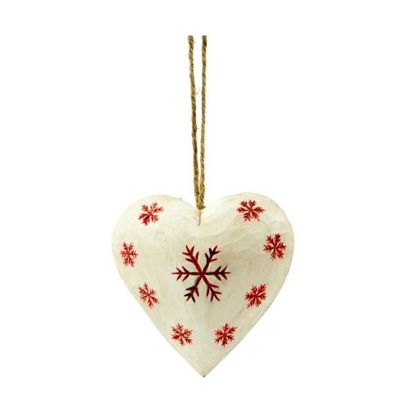 Dekoracja wisząca Heart with snowflake in white