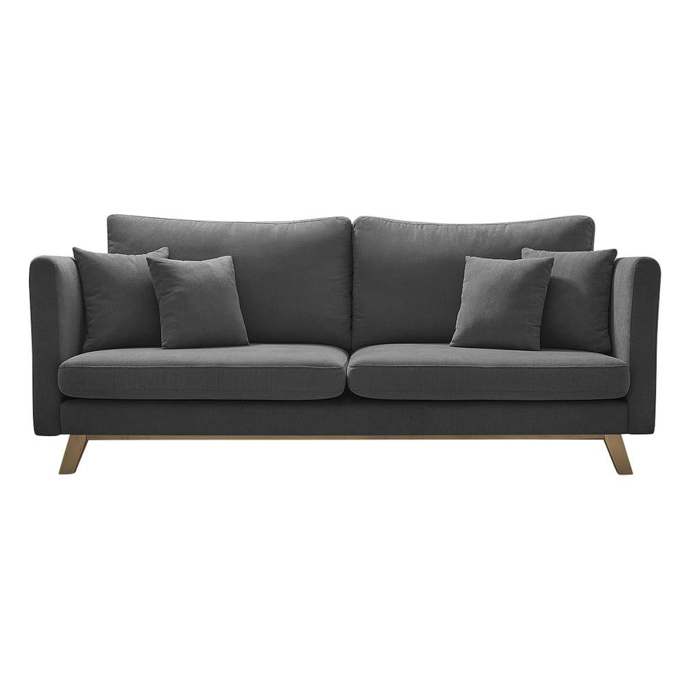 Ciemnoszara rozkładana sofa Bobochic Paris Triplo