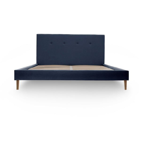 Granatowe łóżko z naturalnymi nóżkami Vivonita Kent, 180x200 cm